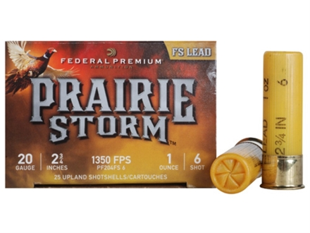 "Federal Premium Prairie Storm Ammunition 20 Gauge 2-3/4"" 1 oz #6 Plated Shot Box of 25"