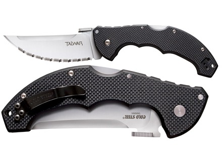 "Cold Steel Talwar Folding Tactical Knife 4"" Upswept Point AUS 8A Stainless Steel Blade G-10 Handle Black"