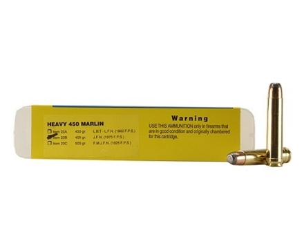 Buffalo Bore Ammunition 450 Marlin 405 Grain Jacketed Flat Nose Box of 20