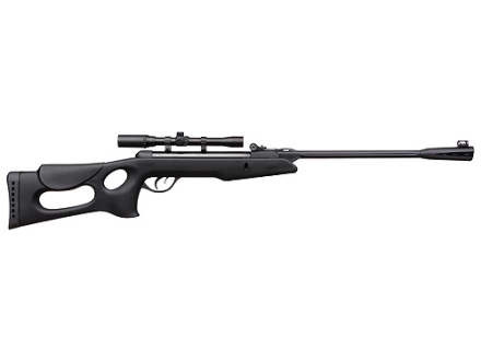 Gamo Recon Whisper Air Rifle 177 Caliber Black Synthetic Stock Blue Barrel with Gamo Airgun Scope 4x 20mm Matte