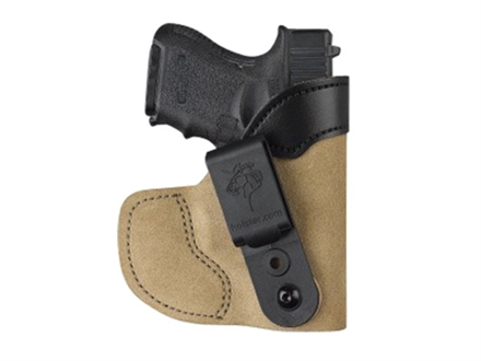 DeSantis Pocket-Tuk Inside the Waistband or Pocket Holster Right Hand Kimber Solo, Rohrbaugh R9,  DiamondBack DB380, DB9 with Laserguard Leather Brown
