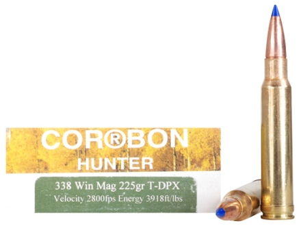 Cor-Bon DPX Hunter Ammunition 338 Winchester Magnum 225 Grain Barnes Tipped Triple-Shock X Bullet Hollow Point Lead-Free Box of 20