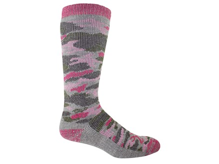 Browning Women's Heavweight Camo Socks Merino Wool Blend Pink Camo Medium 6-9