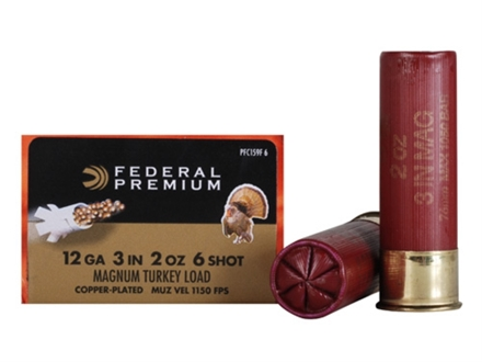 "Federal Premium Mag-Shok Turkey Ammunition 12 Gauge 3"" 2 oz #6 Copper Plated Shot High Velocity Box of 10"