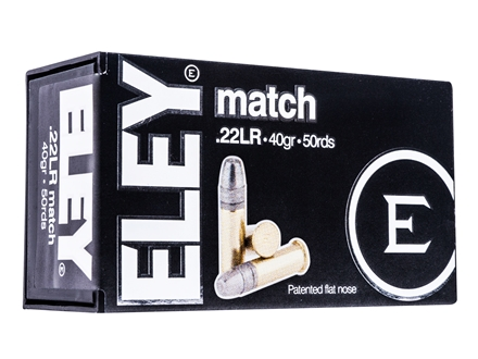Eley Match Ammunition 22 Long Rifle 40 Grain Lead Flat Nose