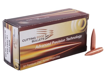 Cutting Edge Bullets Match Tactical Hunting Bullets 30 Caliber (308 Diameter) 180 Grain Low Drag Hollow Point Boat Tail Copper Lead-Free Max Box of 50