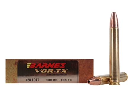 Barnes VOR-TX Safari Ammunition 458 Lott 500 Grain Triple-Shock X Bullet Flat Base Box of 20
