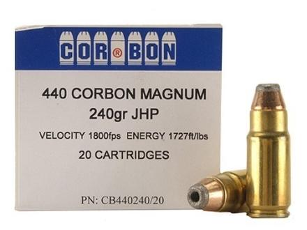 Cor-Bon Hunter Ammunition 440 Cor-Bon 240 Grain Jacketed Hollow Point Box of 20