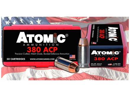 Atomic Ammunition 380 ACP 90 Grain Jacketed Hollow Point Box of 50