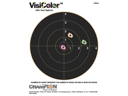 "Champion VisiColor 8"" Bullseye Target 8.5"" x 11"" Paper Package of 10"