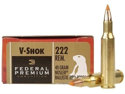 Federal Premium V-Shok Ammunition 222 Remington 40 Grain Nosler Ballistic Tip Varmint Spitzer Box of 20