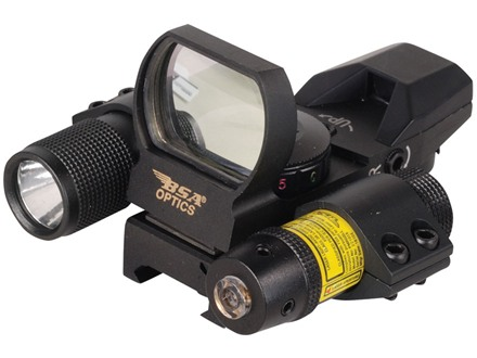 BSA Pano Reflex Red Dot Sight Red and Green 4 Reticle (3 MOA Dot, Crosshair, 10 MOA Dot Crosshair and 65 MOA Circle with 3 MOA Dot) with Laser, Flashlight and Weaver-Style Mount Matte
