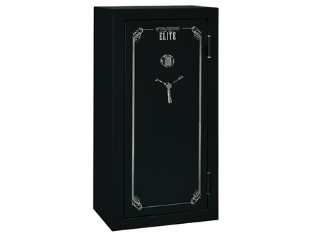 Stack-On Elite Fire-Resistant 24-Gun Safe with Electronic Lock Matte Black with Door Storage