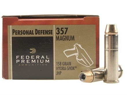 Federal Premium Personal Defense Ammunition 357 Magnum 158 Grain Hydra-Shok Jacketed Hollow Point Box of 20
