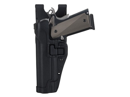 BlackHawk Level 2 Serpa Auto Lock Duty Holster Left Hand 1911 Government, Commander Polymer Black