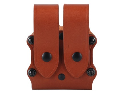 Hunter 5501 Pro-Hide Double Magazine Pouch with Flaps Double-Stack Staggered Magazine Leather Brown