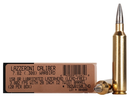 Lazzeroni Ammunition 7.82 Warbird 150 Grain LazerHead Copper X Bullet Boat Tail Box of 20
