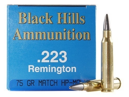 Black Hills Remanufactured Ammunition 223 Remington 75 Grain Match Hollow Point Moly Box of 50