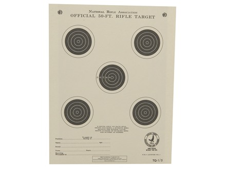 NRA Official Smallbore Rifle Training Target TQ-1/5 50' Paper Package of 100