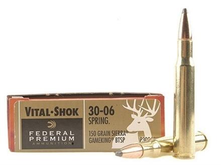 Federal Premium Vital-Shok Ammunition 30-06 Springfield 150 Grain Sierra GameKing Spire Point Boat Tail Box of 20