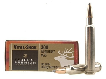 Federal Premium Vital-Shok Ammunition 300 Weatherby Magnum 180 Grain Nosler Partition Box of 20