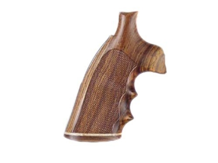 Hogue Fancy Hardwood Grips with Accent Stripe, Finger Grooves and Contrasting Butt Cap Colt Anaconda, King Cobra Checkered Cocobolo