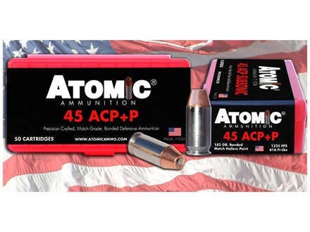 Atomic Ammunition 45 ACP +P 185 Grain Jacketed Hollow Point Box of 50