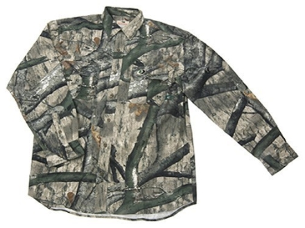 Russell Outdoors Men's Explorer Shirt Long Sleeve Cotton Polyester Blend Mossy Oak Treestand Camo Medium 38-40