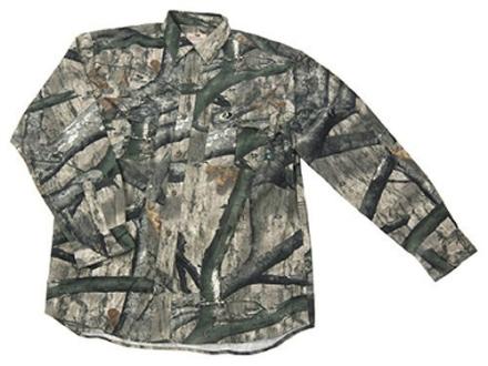 Russell Outdoors Men's Explorer Shirt Long Sleeve Cotton Polyester Blend Mossy Oak Treestand Camo Medium 38-40