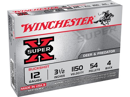 "Winchester Super-X Magnum Ammunition 12 Gauge 3-1/2"" Buffered #4 Buckshot 54 Pellets Box of 5"