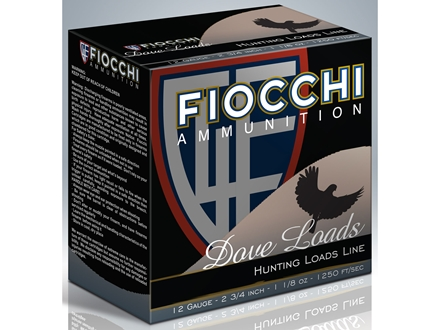 "Fiocchi Dove & Target Ammunition 12 Gauge 2-3/4"" 1-1/8 oz #8 Shot"