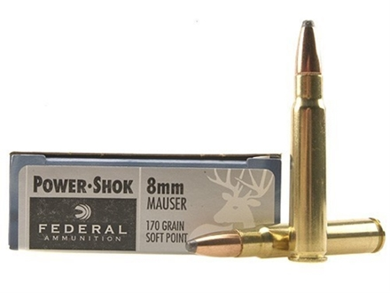 Federal Power-Shok Ammunition 8x57mm Mauser (8mm Mauser) 170 Grain Soft Point Box of 20