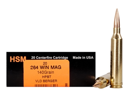 HSM Trophy Gold Ammunition 264 Winchester Magnum 140 Grain Berger Hunting VLD Hollow Point Boat Tail Box of 20