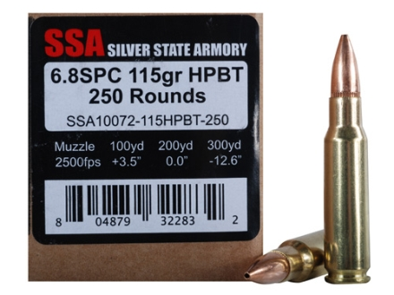 Silver State Armory Ammunition 6.8mm Remington SPC 115 Grain Hollow Point Boat Tail Training Round Box of 250