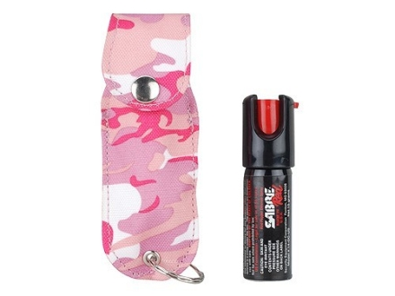 Sabre Red USA Pepper Spray 1/2 oz Aerosol with Soft Case Pink Woodland Camo