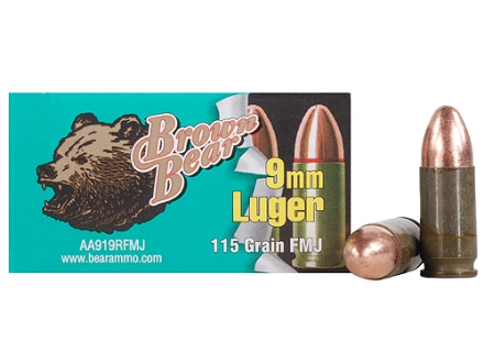 Brown Bear Ammunition 9mm Luger 115 Grain Full Metal Jacket (Bi-Metal) Box of 50