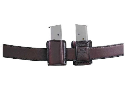 Galco Concealable Single Magazine Pouch 40 S&W, 9mm Double Stack Metal Magazines Leather Brown