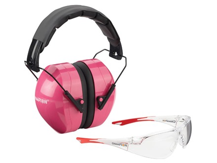 Champion Eyes and Ears Range Safety Kit Combo-Passive Earmuffs Ballistic Glasses (NRR 26dB) Pink Muff Wrap Around Eye Protection