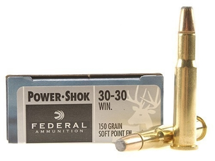 Federal Power-Shok Ammunition 30-30 Winchester 150 Grain Soft Point Flat Nose Box of 20