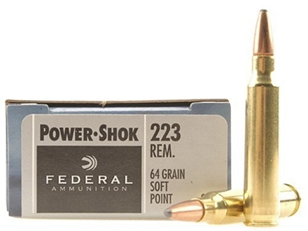Federal Power-Shok Ammunition 223 Remington 64 Grain Jacketed Soft Point Box of 20