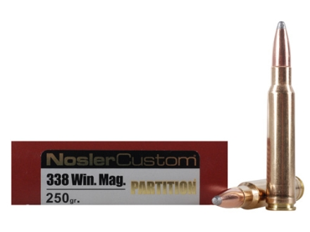 Nosler Trophy Grade Ammunition 338 Winchester Magnum 250 Grain Partition Box of 20