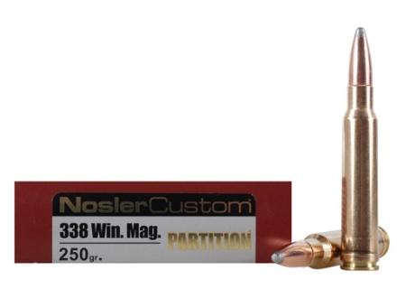Nosler Trophy Grade Ammunition 338 Winchester Magnum 250 Grain Partition Box of 20