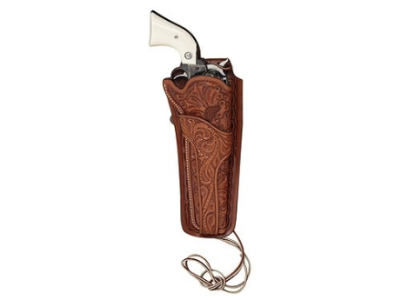 "Hunter 1085 Texas Jockstrap Holster Right Hand Colt Single Action Army, Ruger Blackhawk, Vaquero 4-.75"" to 5.5"" Barrel Tooled Leather Brown"