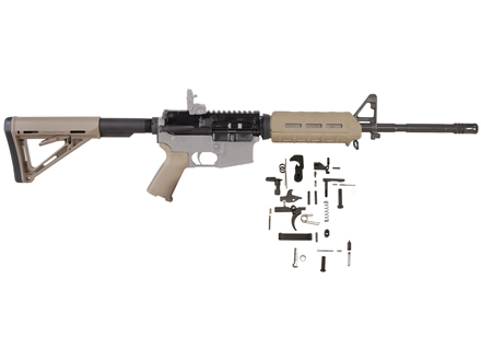 "Del-Ton M4 MOE Carbine Kit AR-15 5.56x45mm NATO 1 in 9"" Twist 16"" Barrel Upper Assembly, Lower Parts Kit, MagPul MOE Handguard, Pistol Grip & Collapsible Buttstock Flat Dark Earth"