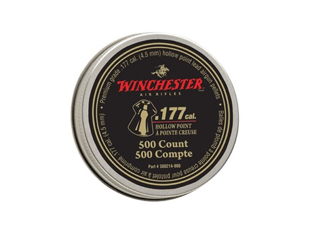 Winchester Airgun Pellets 177 Caliber 9.7 Grain Hollow Point Pellets Tin of 500