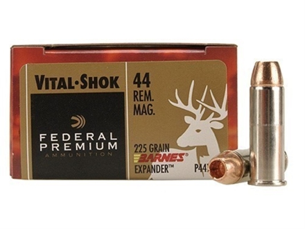 Federal Premium Vital-Shok Ammunition 44 Remington Magnum 225 Grain Barnes XPB Hollow Point Lead-Free Box of 20