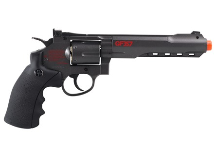 Game Face 6-shot Airsoft Revolver 6mm CO2 Single/Double Action Metal Gray and Brown