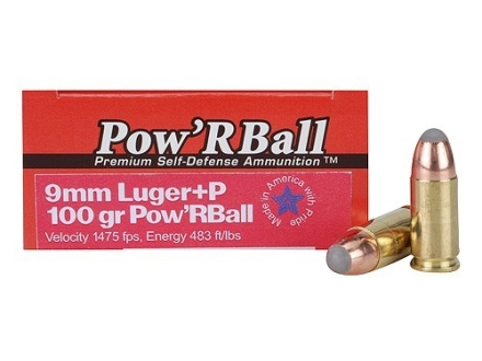 Glaser Pow'RBall Ammunition 9mm Luger +P 100 Grain Box of 20