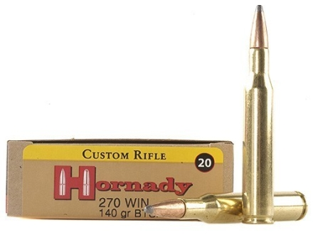 Hornady Custom Ammunition 270 Winchester 140 Grain InterLock Spire Point Boat Tail Box of 20