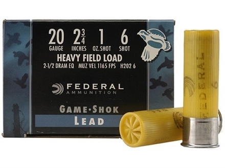 "Federal Field-Shok Heavy Game Load Ammunition 20 Gauge 2-3/4"" 1 oz #6 Shot Box of 25"
